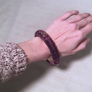CHANEL Jewelry - Chanel Purple BlackTweed and Steel Bangle Bracelet